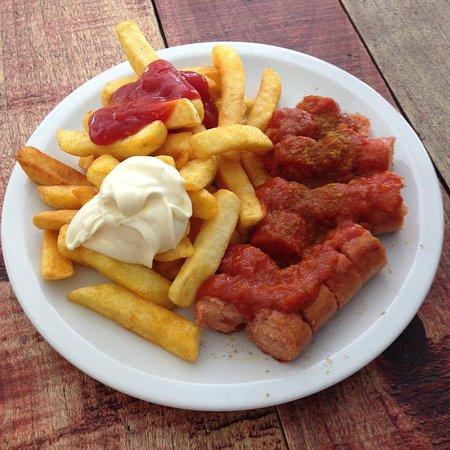 Stendal, Germany: Currywurst mit Pommes Schranke