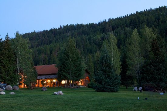 Victor, ID: The Main Lodge as evening begins