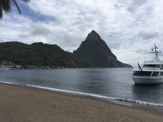 Humming Bird : View of the Petit Pitons from the beach next to the Hummingbird