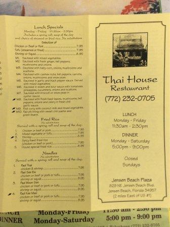 Jensen Beach, FL: Thai house take-out menu