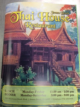 Jensen Beach, FL: Thai house dinner menu