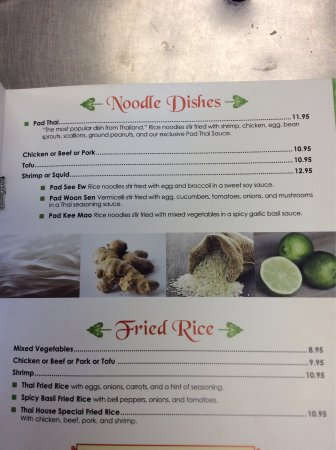 Jensen Beach, FL: Thai house dinner menu