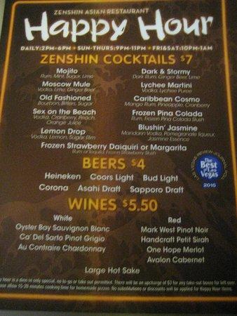 Happy Hour Drink Menu Picture Of Zenshin Las Vegas