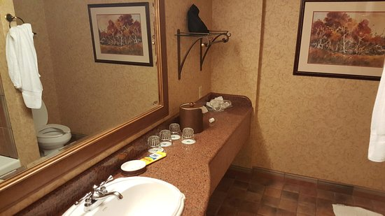 Chateau on the Lake Resort & Spa: 90's bathroom, large but amentnies not name brand as advertised on website.