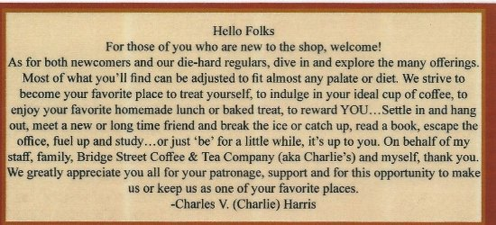 LaBelle, FL: Menu: A few words From the owner...