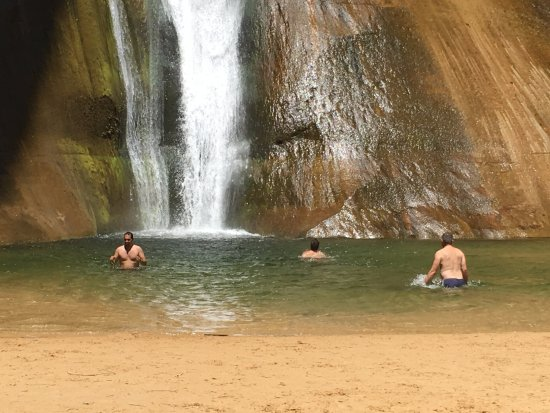 Calf Creek Falls Recreation Area: Smarter than us... they brought swimsuits