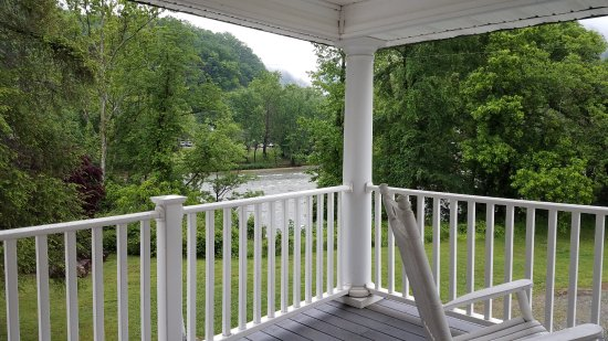 Hot Springs Resort & Spa: Large porch outside Suite 4 ... Loved the relaxing sound of the rapidly flowing French Broad Riv