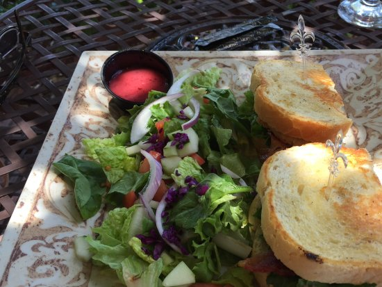 Ivy House: Fried green tomato BLT on sourdough bread with side salad