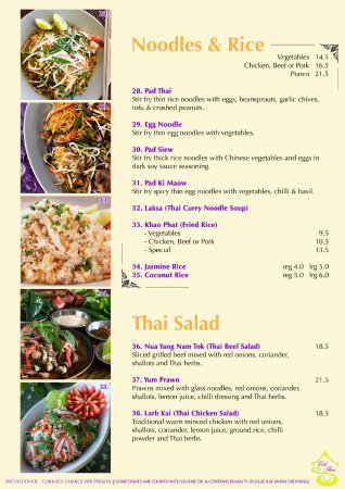 ‪‪Esk‬, أستراليا: Dine In Menu (Noodles & Rice and Thai Salad) ‬