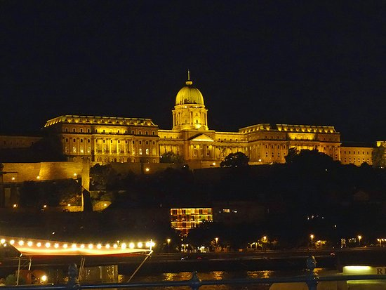 InterContinental Budapest: View across the Danube at night.