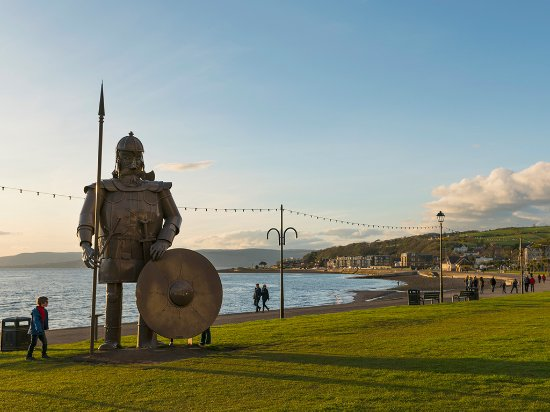 Ayr, UK: Statue of Magnus the Viking standing at the seafront in Largs