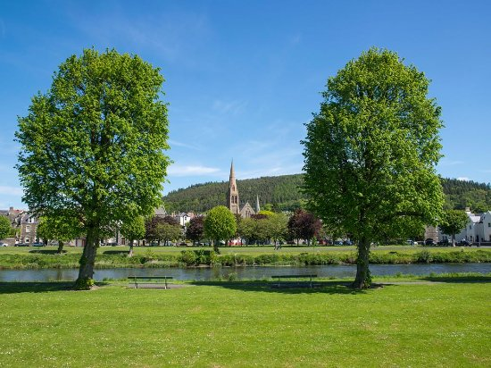 Peebles seen from the banks of the River Tweed