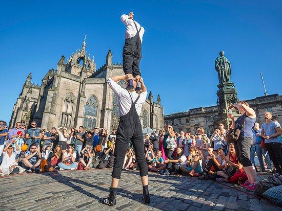 Performers on The Royal Mile during the Edinburgh Fringe Festival