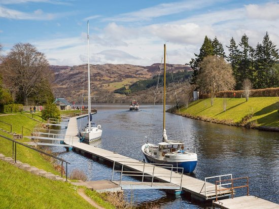 Inverness, UK: Caledonian Canal at Fort Augustus where it joins Loch Ness