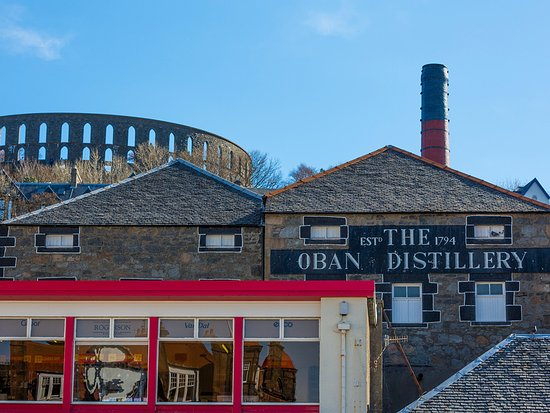 The Oban Distillery and McCaig's Tower