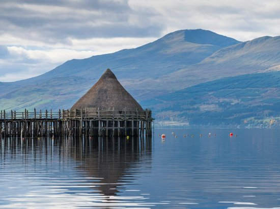Perth, UK : The Scottish Crannog Centre on Loch Tay
