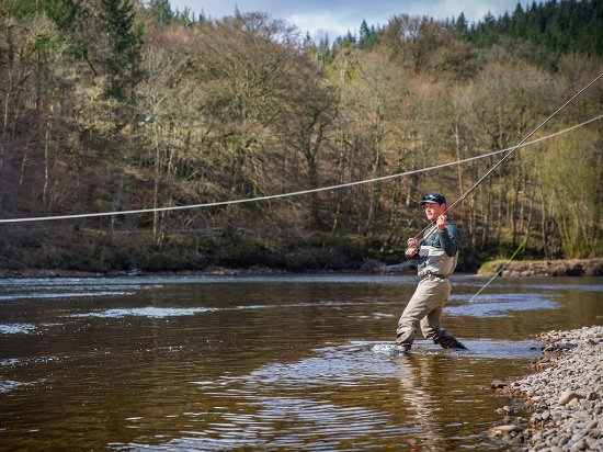 Perth, UK: Salmon Fishing on the River Tay, Dunkeld