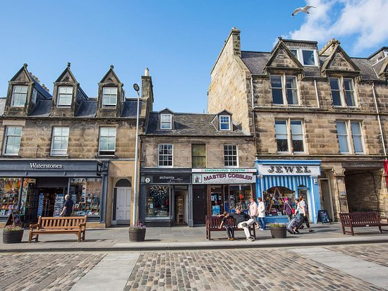 St. Andrews, UK : Shops along Market Street in St Andrews