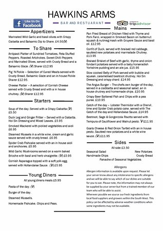 Probus, UK: Sample menu from May 17. Subject to change.