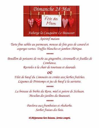 Le Beausset, France: Menu de la fête des mères.