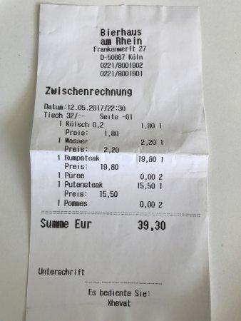 BierHaus am Rhein: Scontrino