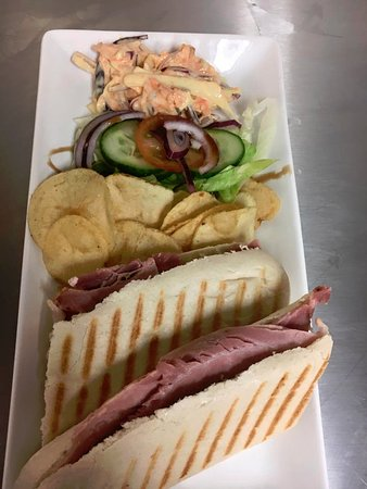 Aberdare, UK: Ham Panini, Salad and Crisps
