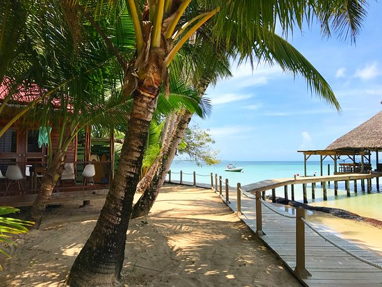 Casa Cayuco: boardwalk to the dock from cabin area