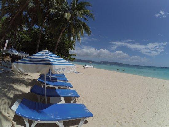 357 Boracay: the hotel beach chairs and umbrella