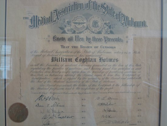 Foley, AL: Dr. Holmes' Board Certification (with signatures of the examining board)