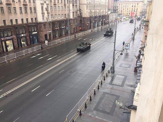 Moscow Marriott Grand Hotel: Blick aus dem Fenster am 9. Mai