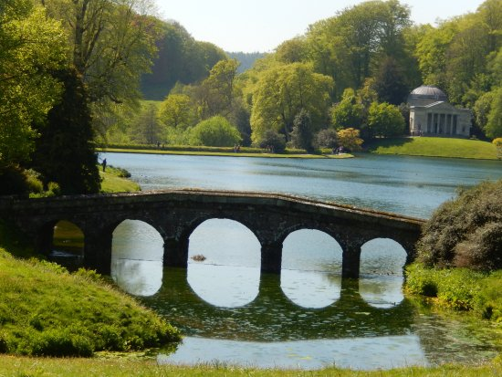 Stourhead House And Garden: The Palladian Bridge With The Pantheon In The  Distance
