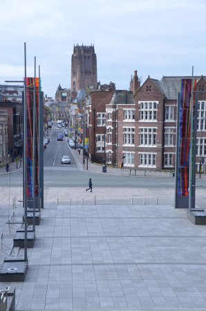 Metropolitan Cathedral of Christ the King Liverpool: Anglican Cathedral from Roam Catholic Cathedral