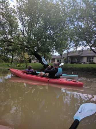 1 & 2-person kayaks paddling on the creek  - Picture of