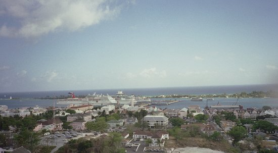 View of port at Nassau from water tower