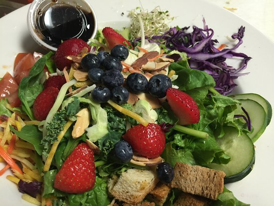 Ketchum, ID: Our Signature Salad with upgrade Super food Blend at Perry's Restaurant in Sun Valley, Idaho.