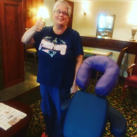 Cranston, Род Айленд: My 1st chair massage client at Homewood Suites in Warwick. Thank you.