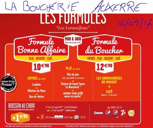 Restaurant La Boucherie Menu