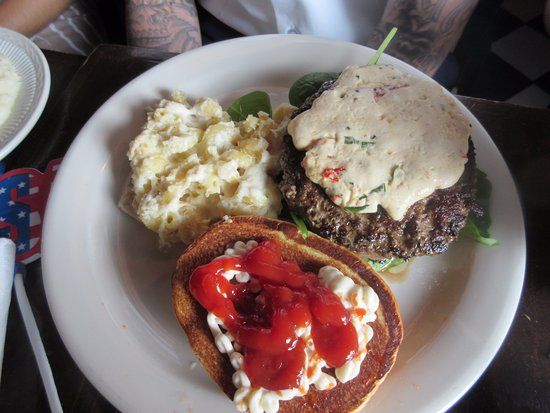 Burger to the right uncovered. I like catsup