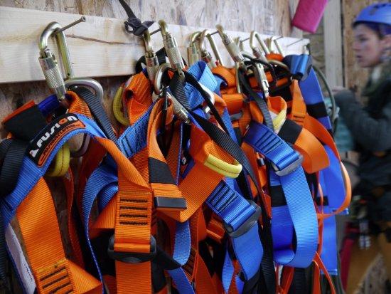 Baileys Harbor, WI: Zip line equipment at the zip line course in Door County, WI