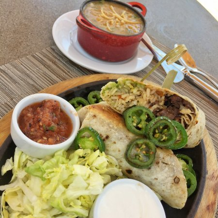 Paradise Valley, AZ: Carne Asada Wrap, (rice, shredded lettuce, salsa casera, guacamole, Chihuahua cheese)