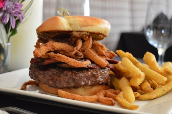 The Peacock Dining Room: Brisket Burger served in the Glass Bar inside the Historic Hassayampa Inn