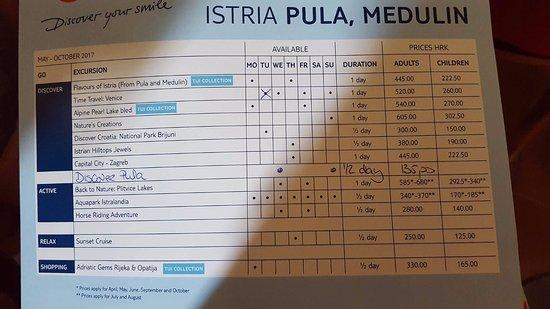 TUI Sensimar Medulin: Excursion list (May 2017)