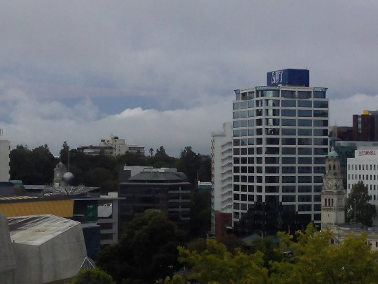 VR Auckland City: View from my room. The clouds were part of Tropical Cyclone Cooke.