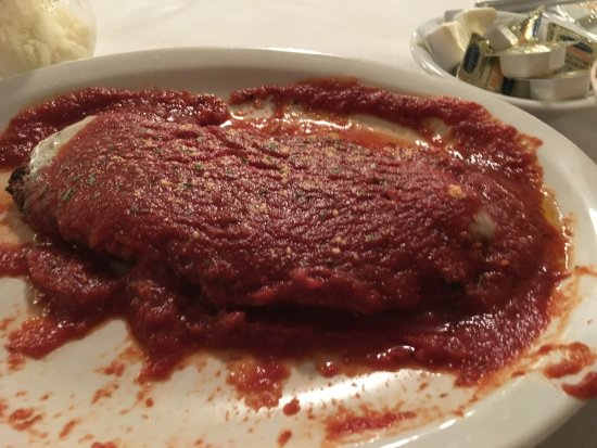 Edgewood, MD: Chicken Parm with very darl thick oregano flavored sauce.