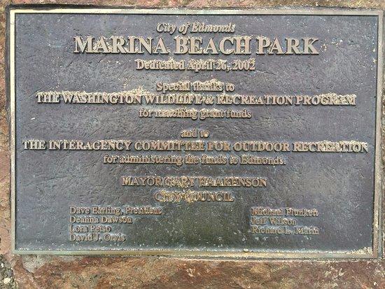 Marina Beach Park placard by the City of Edmonds.