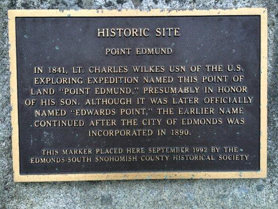 "Edmonds, WA: Marina Beach placard for ""Historic site;  of ""Point Edmund"" """