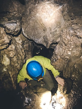Horne Lake Caves Provincial Park: Climbing up an underground waterfall