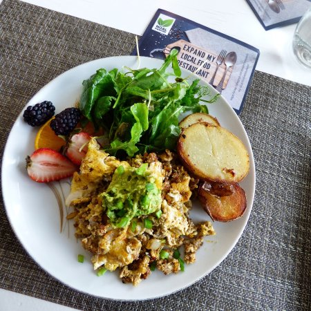 Smiths Falls, Canada: Scrambled eggs with chorizo topped with avocado and green onion.