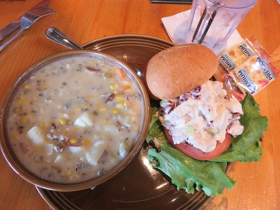Siren, WI: Soup and sandwich: wild rice corn chowder/chicken salad