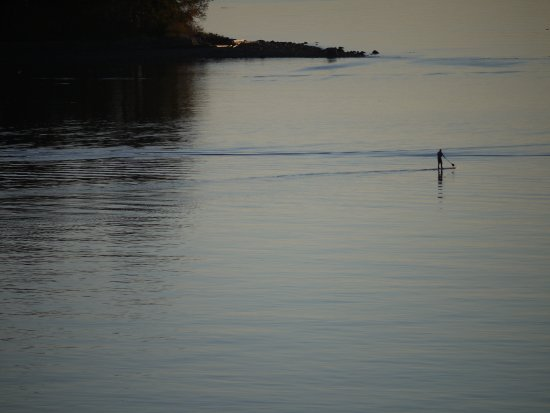 Sechelt, Canada: Paddle boarder on a calm November eve, View from the property